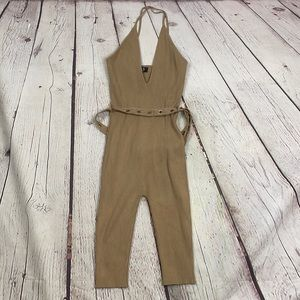 Hera Collection tan ribbed jumpsuit cropped medium
